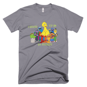 Sesame Street I Grew Up On Da Street T-Shirt - Slate