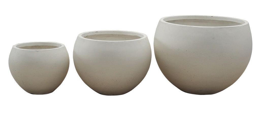 3 Set Round Pots Cream