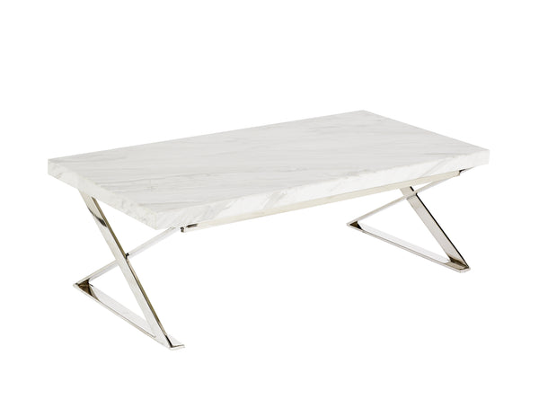 Lyn Coffee Table Polish-HC Marble White 50mm-Overhang