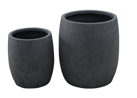 2 Set Round Pots Grey