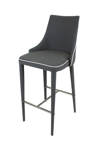 Modern Bar Stool White Piping Grey Fabric
