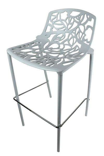 Modern Bar Stool - Alum P/Coated White