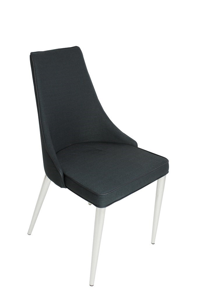 Modern Chair-Metal Frame-Fabric PuPiping-Black