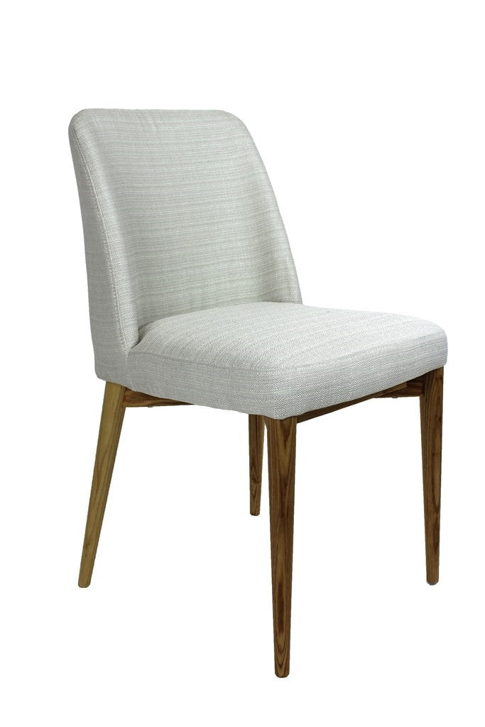 Modern Chair Fabric Wood Leg Beige