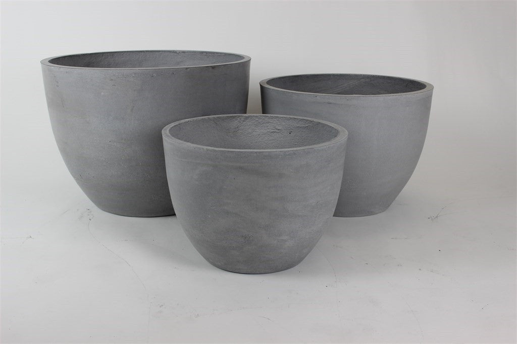 3 Set Round Pots Light Grey