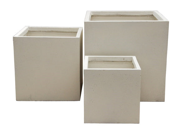 3 Set Cube Pots Cream