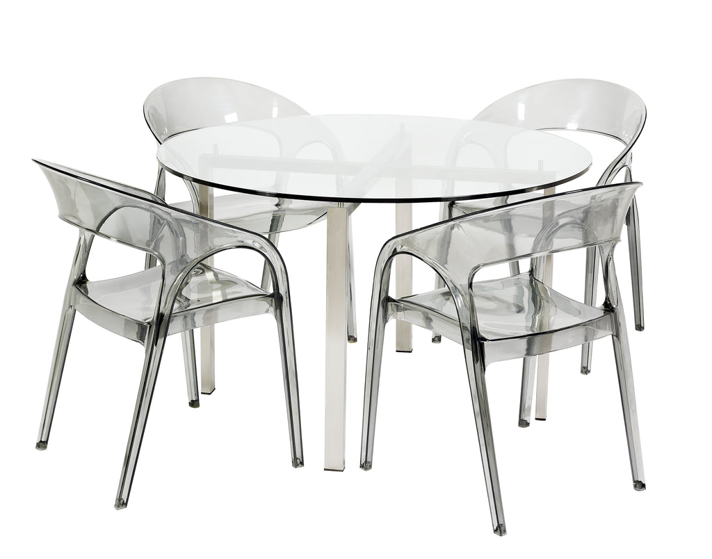 Reflective Dining Table Round Clear Glass