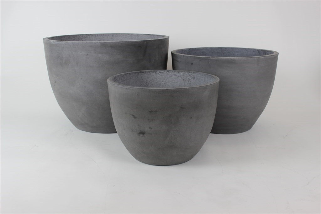 3 Set Round Pots Dark Grey