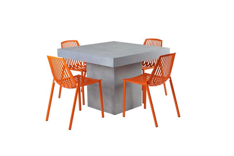 Peninsula Square Dining Table-Grey Cement/Fibreglass