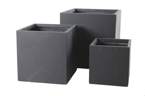 3 Set Cube Pots Dark Grey