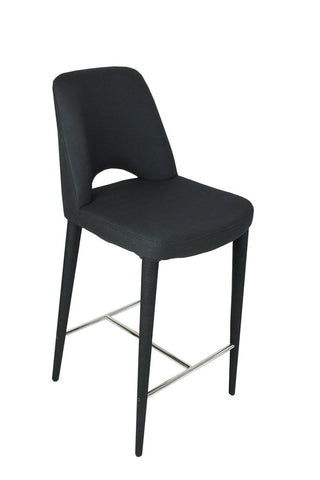 Modern Bar Stool Black Fabric
