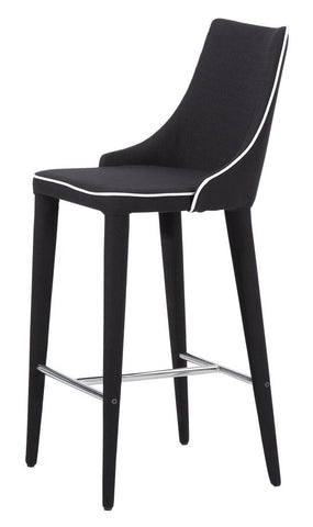 Modern Bar Stool White Piping Black Fabric