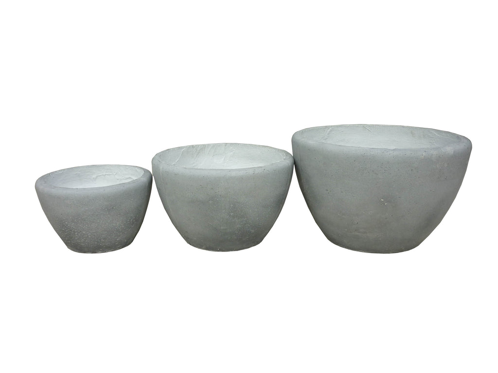 3 Set Round Pots Grey