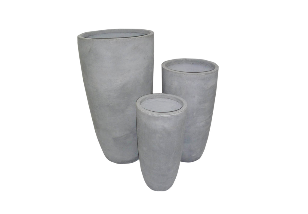 3 Set Tapered Cylinder Pots Grey