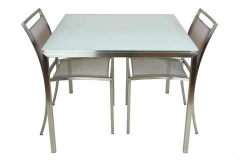 Lilia Dining Table Sapphire White Matt Glass