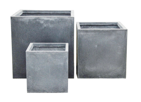 3 Set Cube Pots Grey