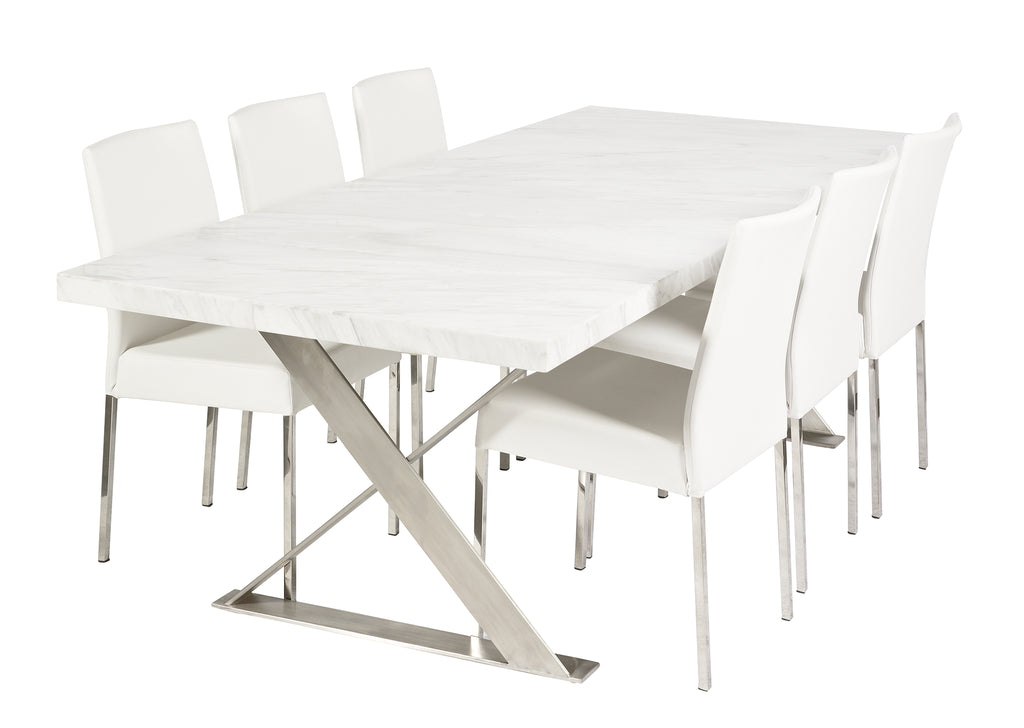 Lyn Dining Table HC White Marble 240cm