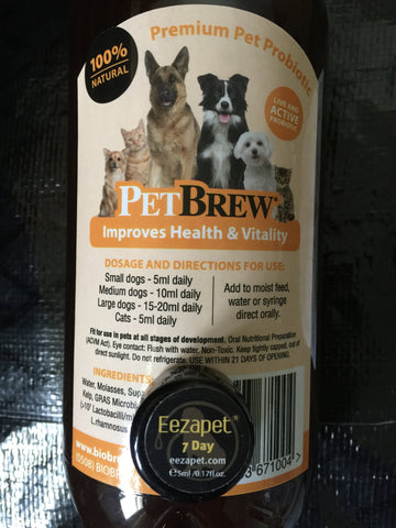 PetBrew 350ml w Free Treats & 1.25lts w Eezapet 7 Day Treatment