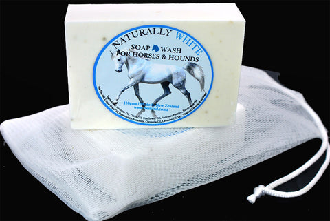 Naturally White Soap Bar for Horses & Hounds with Drawstring Bag
