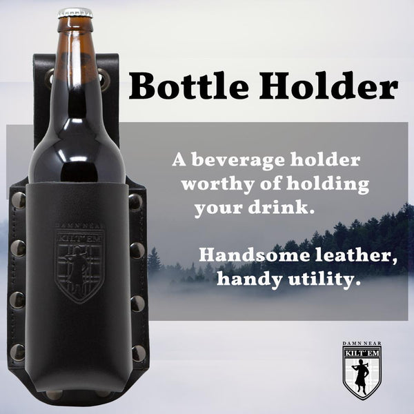 Black Leather 22 oz Bomber XL Bottle Holder