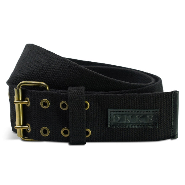 Black Woven Cotton Classic 2.5'' Double Prong Kilt Belt