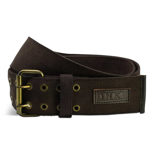 Brown Woven Cotton Classic 2.5'' Double Prong Kilt Belt