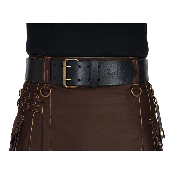 Black Leather Classic 2.5'' Double Prong Kilt Belt