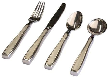 Kinsman KEatlery Weighted Utensils, Set of 4 Includes Knife, Fork, Teaspoon and Soup Spoon