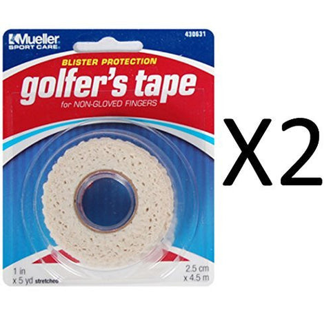 Mueller Golfers Grip Tape, Lightweight, Conforming Elastic Protective Tape, 1 x 5 Yds stretched, 2 rolls