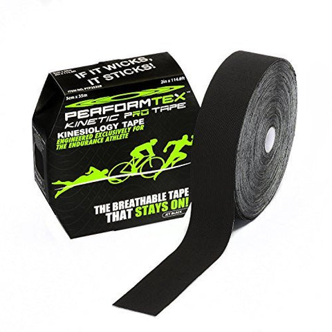 PerformTex Kinetic Pro Kinesiology Tape-Jet Black -35 Meter Bulk Roll