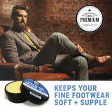 Shoe - Mink Oil Man Sitting with Oiled Shoes