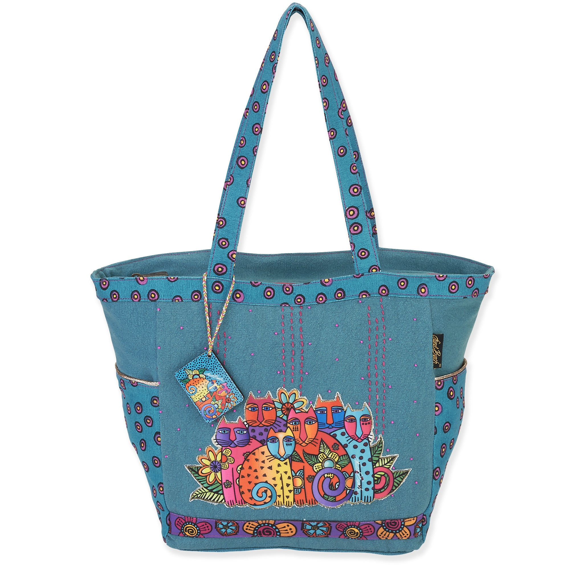 "Laurel Burch Medium Tote Zipper Top 15.5/""X4.5/""X10/""-Spotted Cats"