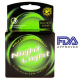Night Light Glow In The Dark Condom - 3 pc Retail pack