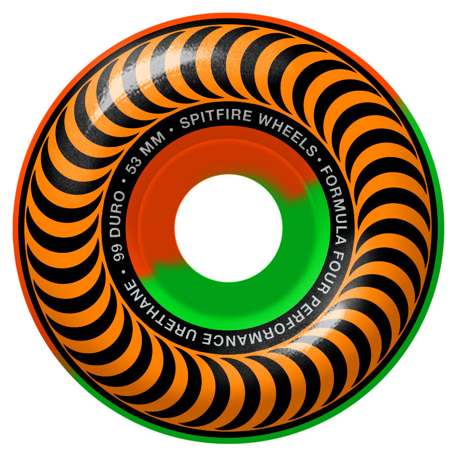 SPITFIRE FORMULA FOUR CLASSIC 99D SWIRLS ORANGE/GREEN 53MM