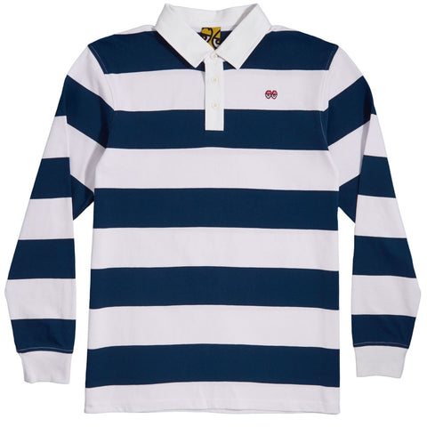 KROOKED EYES LONG SLEEVE RUGBY JERSEY NAVY/WHITE