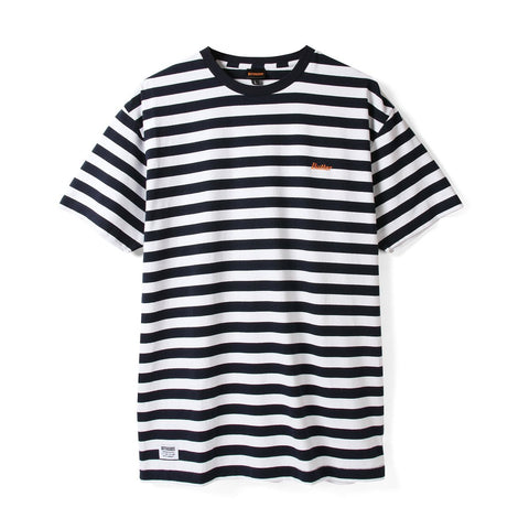 BUTTER GOODS CYCLE STRIPE T-SHIRT NAVY/WHITE
