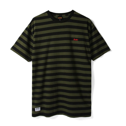 BUTTER GOODS CYCLE STRIPE T-SHIRT OLIVE