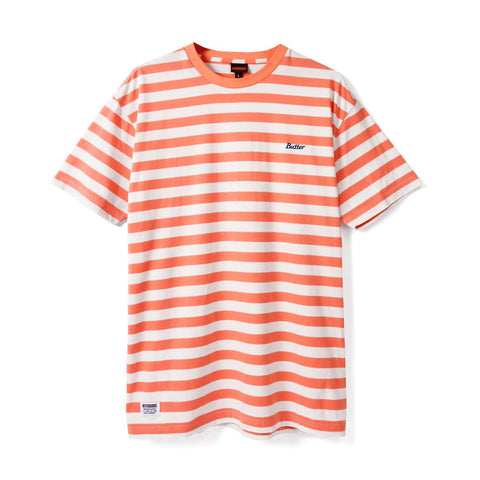BUTTER GOODS CYCLE STRIPE T-SHIRT PEACH