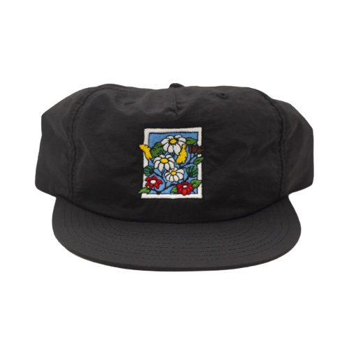 POOLROOM IN BLOOM NYLON CAP BLACK