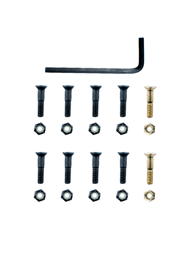 "SUNDAY HARDWARE 7/8"" DECK BOLTS BLACK/GOLD"