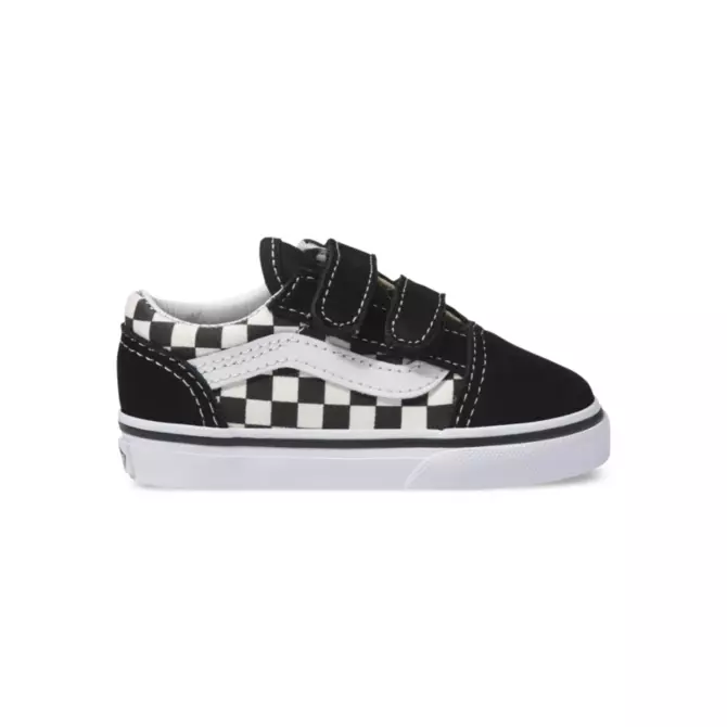 VANS TODDLER OLD SKOOL VELCRO PRIMARY CHECK BLACK