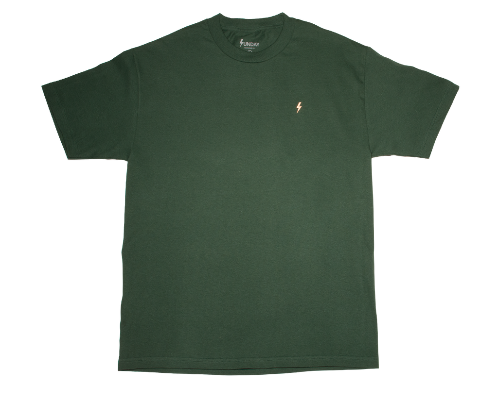 SUNDAY HARDWARE EMBROIDERED THUNDERBOLT TEE FOREST GREEN/PINK