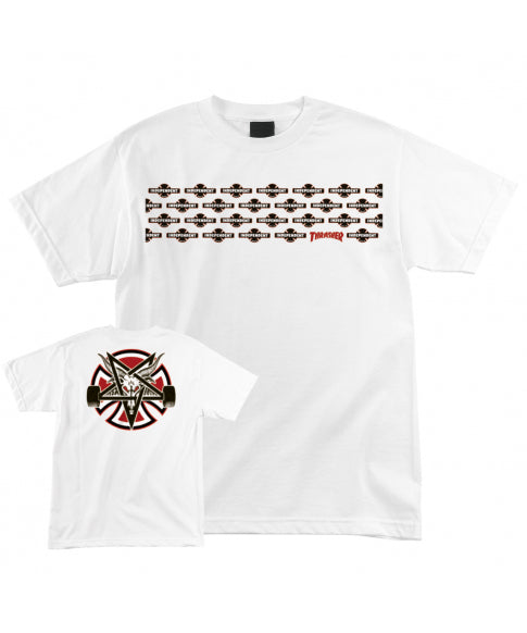 THRASHER X INDEPENDENT TRUCKS PENTAGRAM TEE WHITE