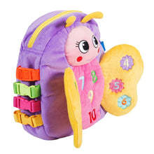 "Load image into Gallery viewer, Blossom Butterfly-Buckle Toys-Buckle Toy ""Blossom"" Butterfly Backpack - Motor Skills-I'm Blossom Butterfly- The Buckle Toy Not only can you play with me Slip me on your back and see Fill me with your favorite things-Buckle Toy Inc"