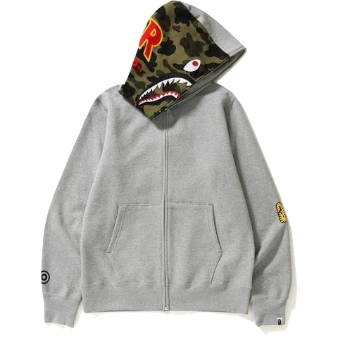A Bathing Ape 2nd Shark Full Zip PONR Hoodie - Gray