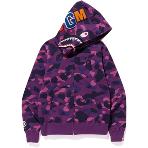 A Bathing Ape Color Camo Shark Full Zip Hoodie - Purple Camo