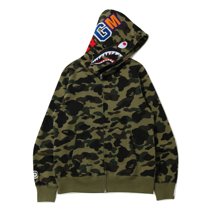A Bathing Ape 1st Camo Shark Full Zip Hoodie WGM - Green Camo
