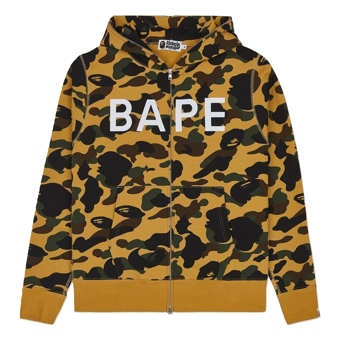 A Bathing Ape 1st Camo Wide Full Zip Hoodie - Yellow Camo