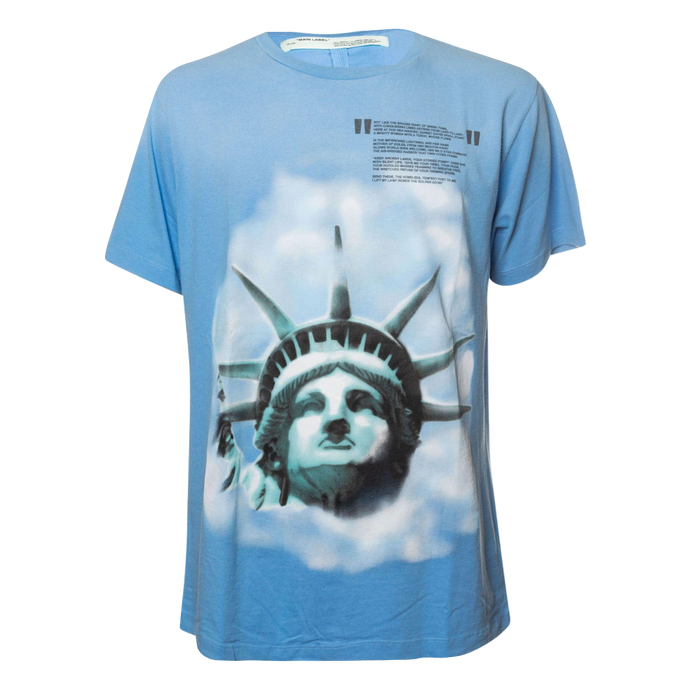 0313144e Off-White Statue Of Liberty Print T-Shirt in Light Blue