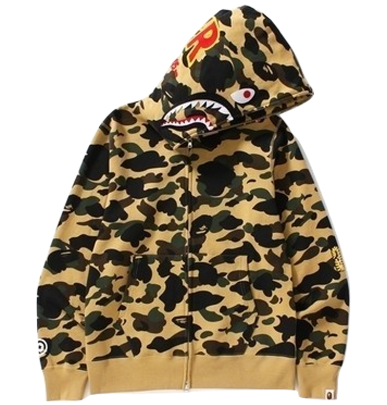 A Bathing Ape 1st Camo Shark Full Zip Hoodie - PONR - Yellow Camo - Used